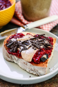 Chia jam and almond butter on toast
