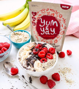 Milled mixed seeds and raspberry porridge