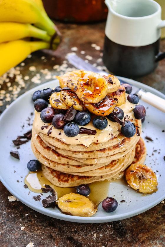 pancakes caramel banana topped stack
