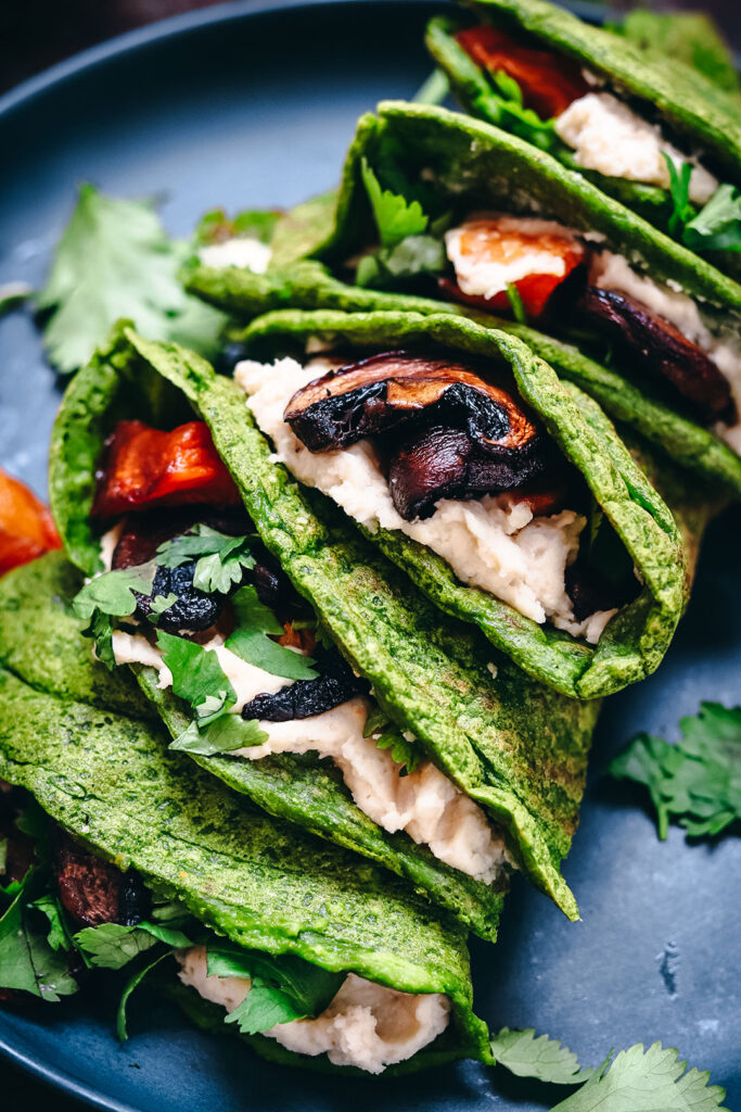 close-up-spinach-and-pancake-wraps