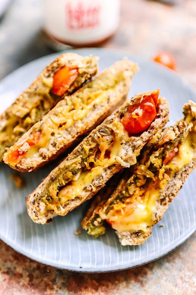 kimchi and pesto toasted sandwich