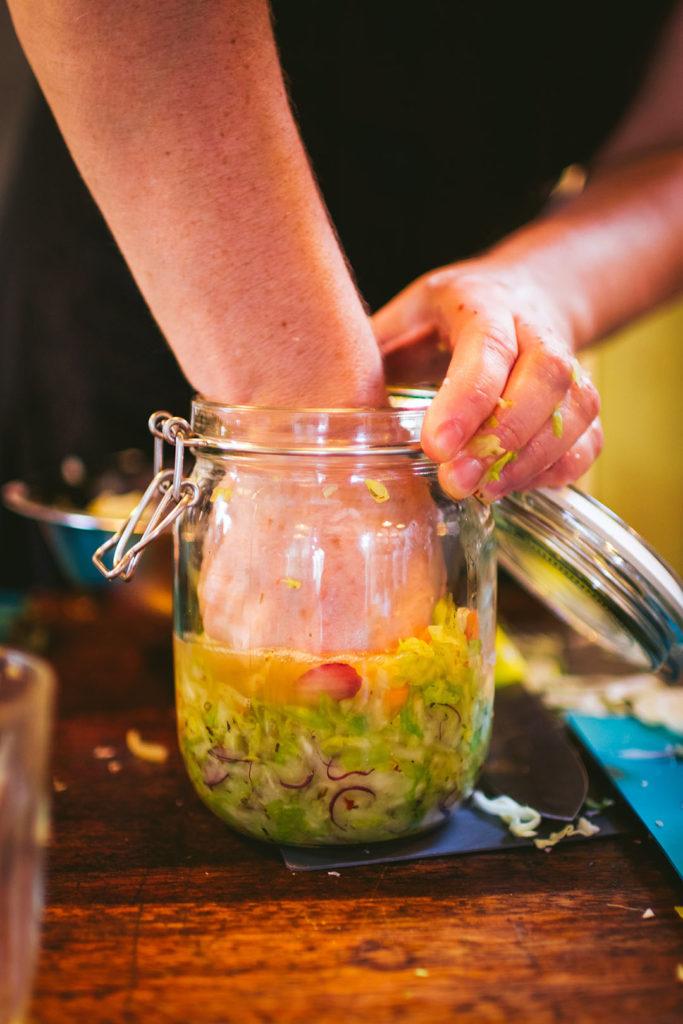 squashing the sauerkraut