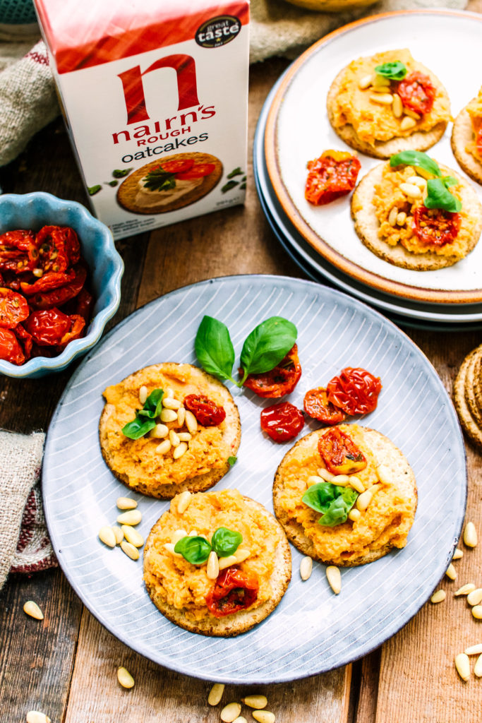 rough oatcakes and hummus