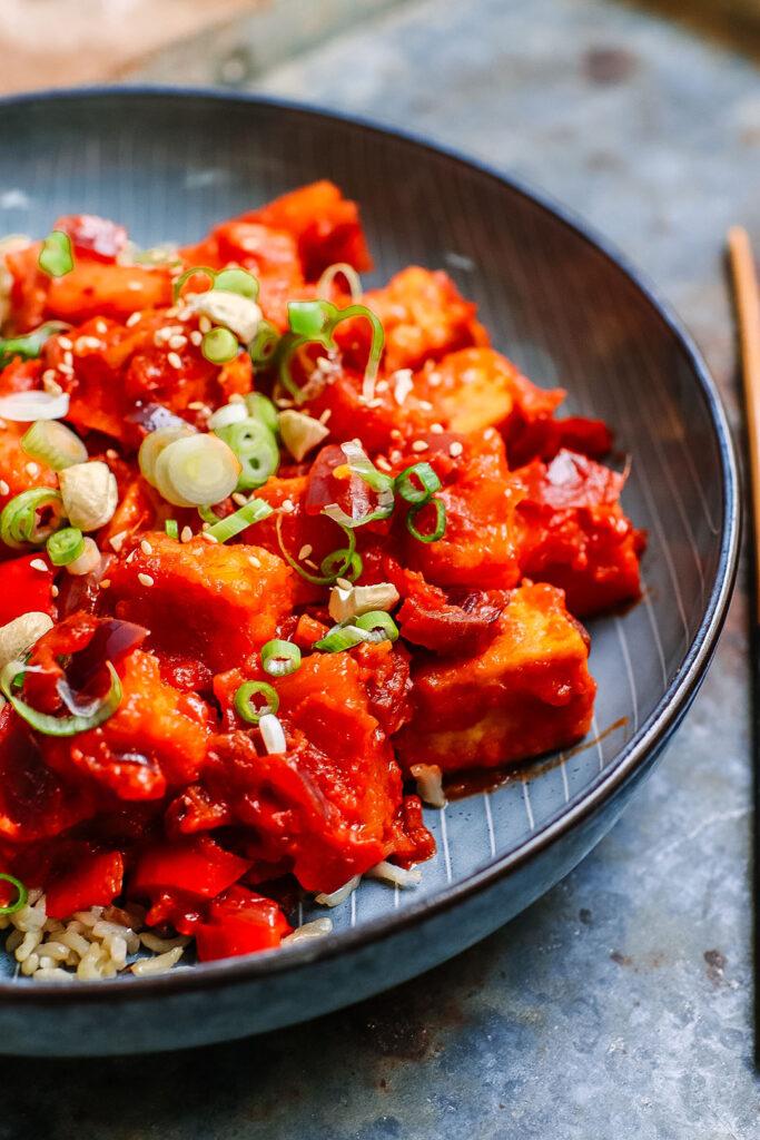 Sweet and Sour Crispy tofu recipe gf vegan