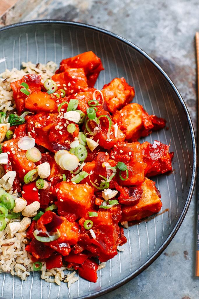 Sweet and sour crispy tofu recipe vegan