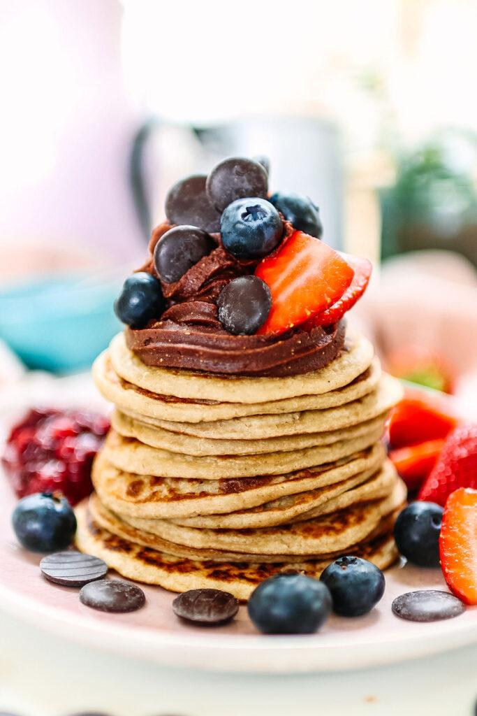 chocolate swirl pancake stack