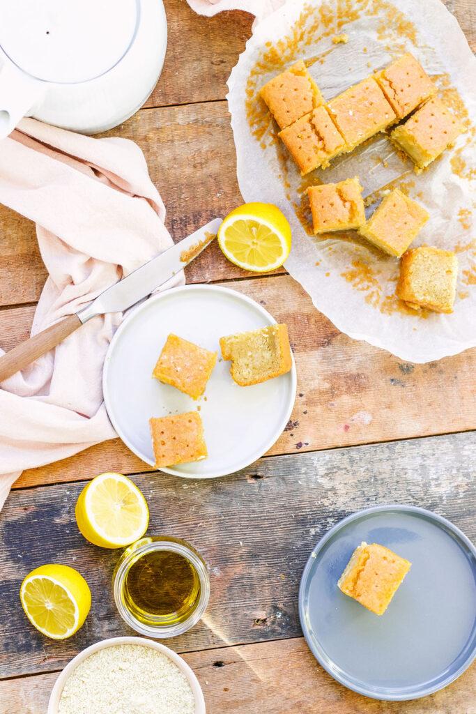Lemon drizzle cake flat lay