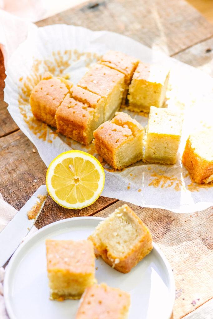 gluten free and vegan lemon drizzle cake
