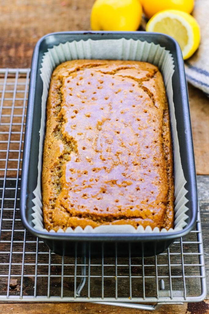 lemon drizzle cake in tin