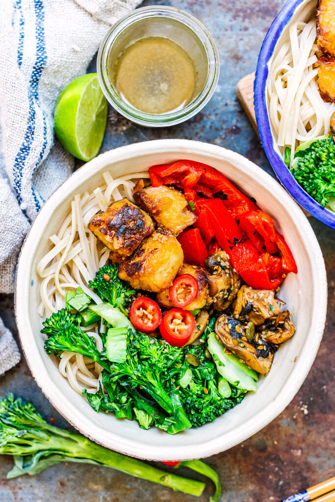 Golden tofu noodle nourish bowl