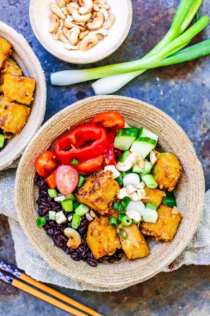 crispy tofu and rice bowl