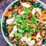 Vegan Caesar salad dressing with lentil salad