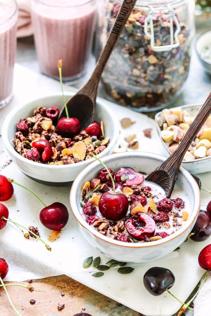 2 bowls cherry granola