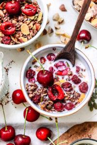 bowl of cherry and chocolate granola
