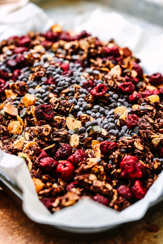 cherry and choc granola on tray