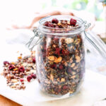 jar of cherry and chocolate granola