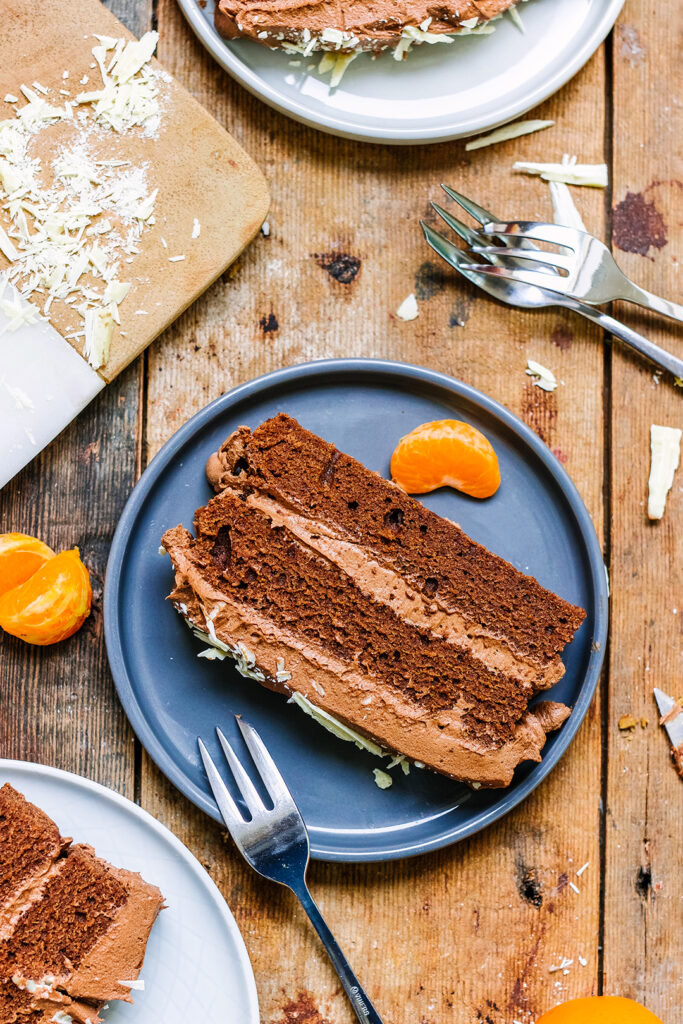chocolate orange cake slice