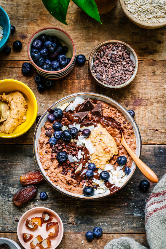 Peanutbutter and chocolate porridge