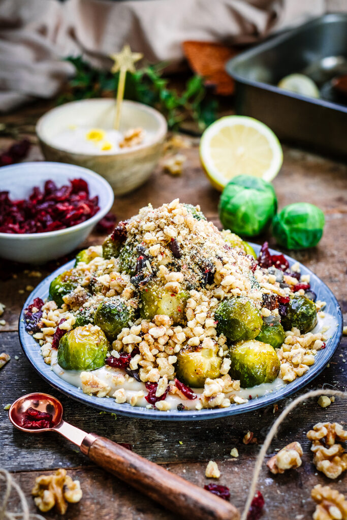 roasted sprouts with tahini and maple dressing and walnut crumble 4