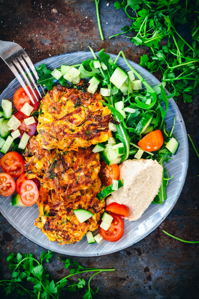vegetable-fritter-and-hummus