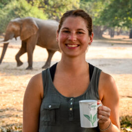 Zimbabwe travel blogger with elephant