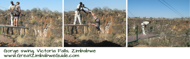 Victoria Falls gorge swing Zimbabwe zip line highwire
