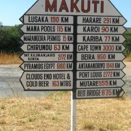 Makuti signpost Zimbabwe
