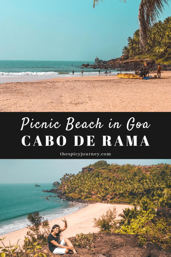 Cabo de Rama beach South Goa pinterest graphic