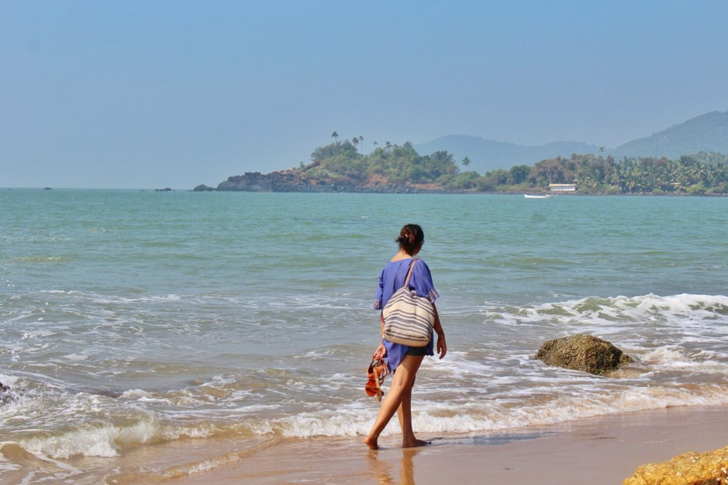 Walking on the beach at Patnem Beach Goa