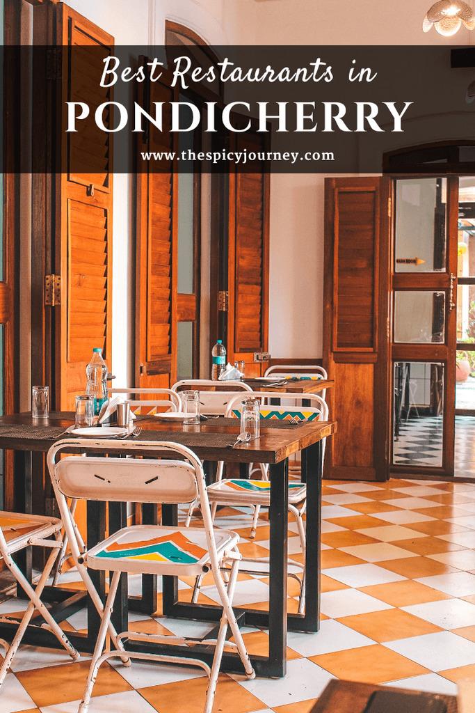 Pinterest graphic for Pondicherry cafes and best restaurants in Pondicherry