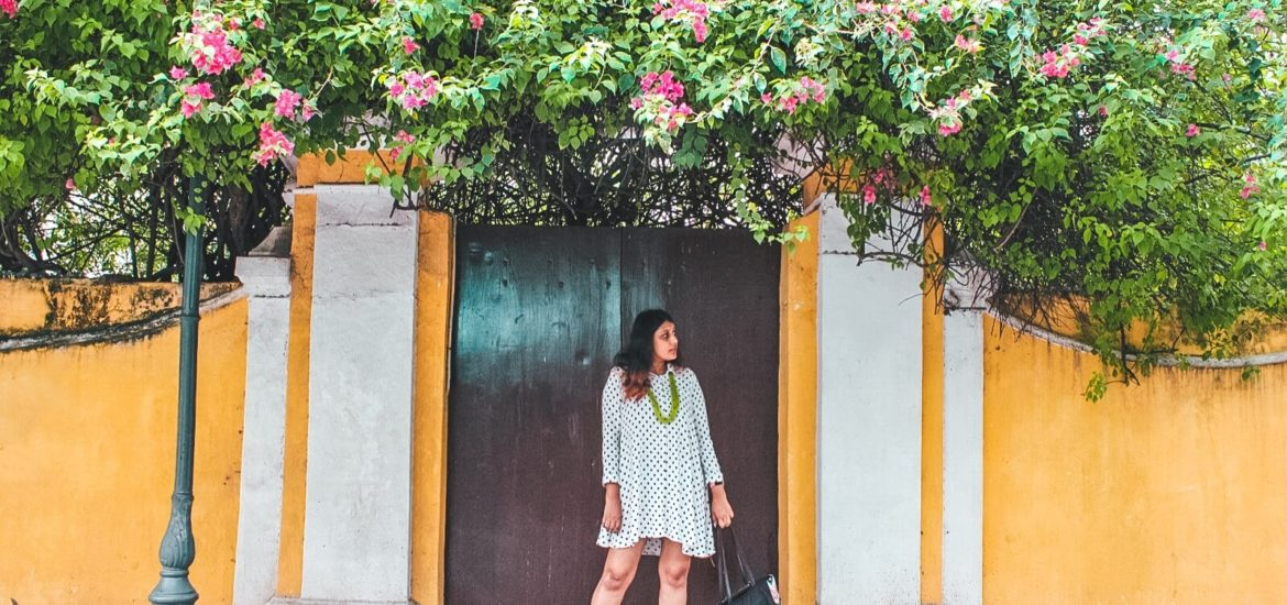 Pondicherry outfit polka dot dress