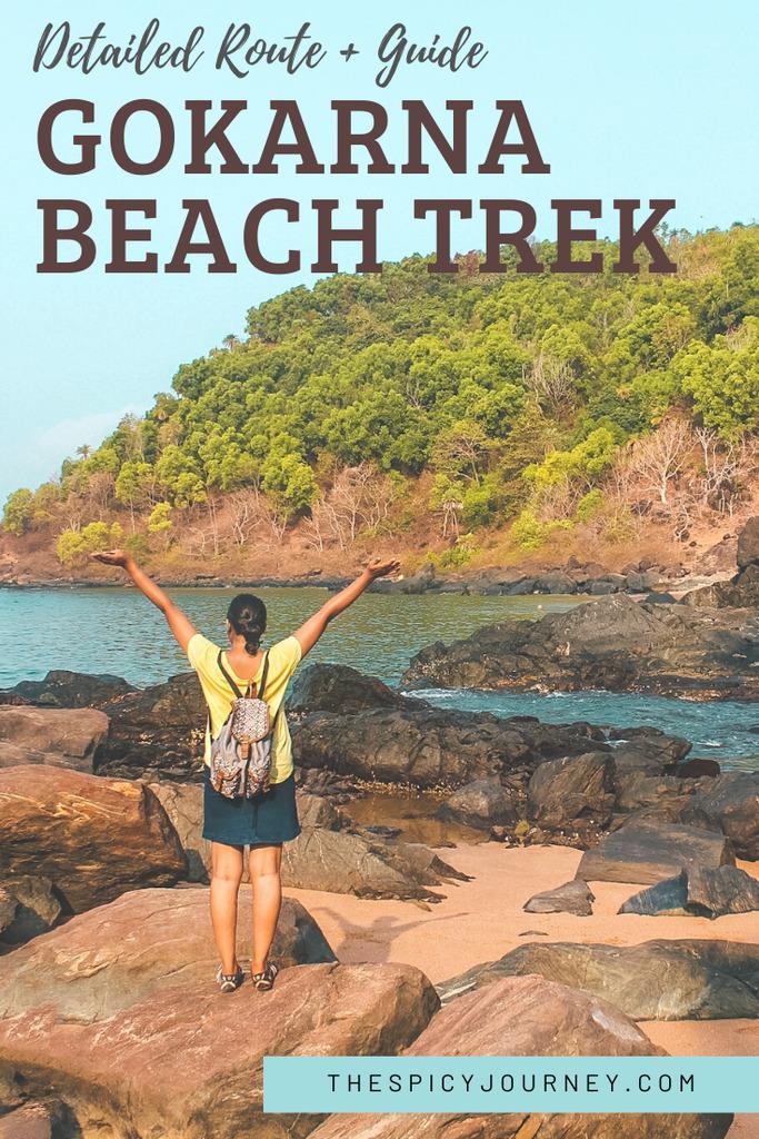 Gokaran beach trek guide pinterest graphic