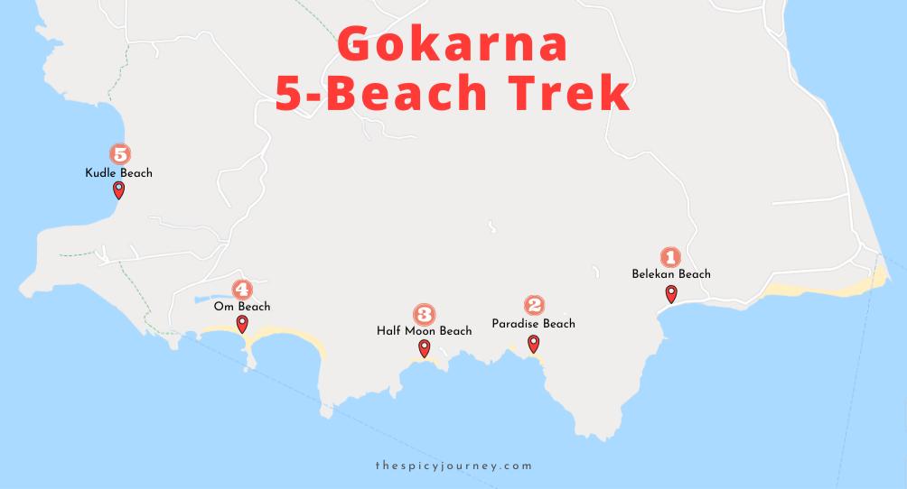 Gokarna beach trek map