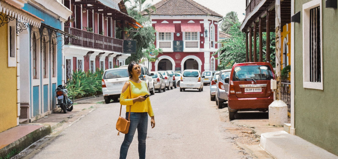 The Spicy Journey wearing a bright top in Fontainhas Panjim