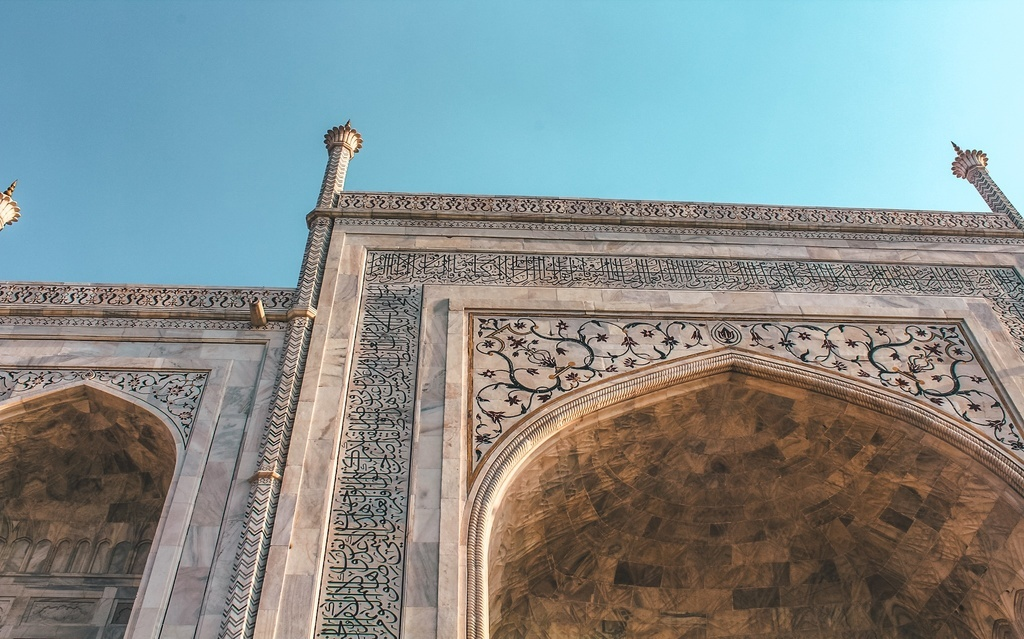 Close-up view of the Taj Mahal white marble strcuture