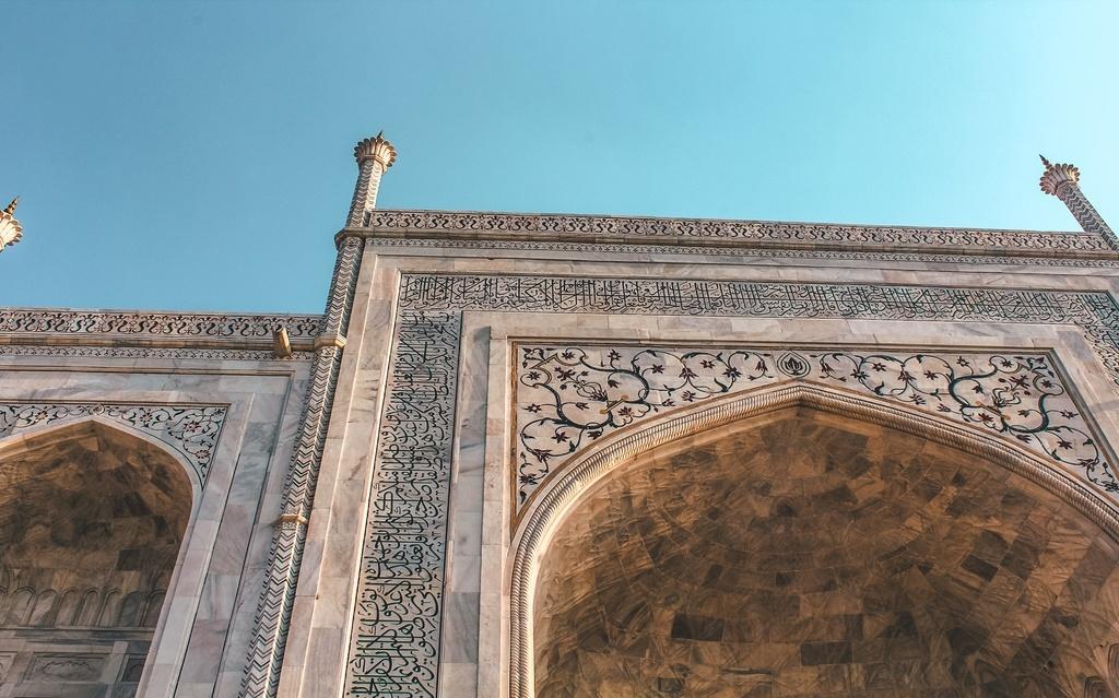 Close-up view of the Taj Mahal white marble strcuture