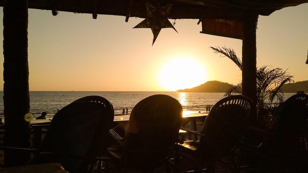 Sunset from a Palolem beach shack
