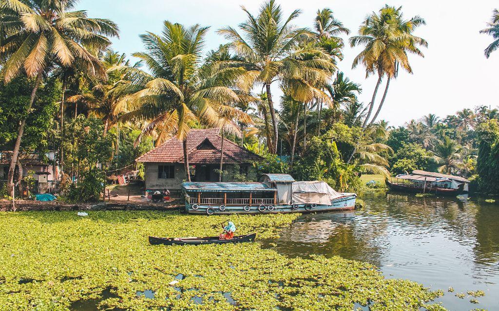 Canoe ride in Alleppey backwaters, Alleppey, Kerala, India