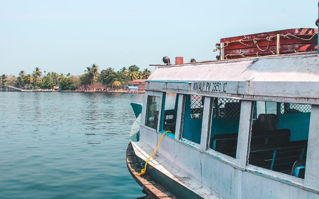 Public ferry in Alleppey backwaters, Alleppey, Kerala, India