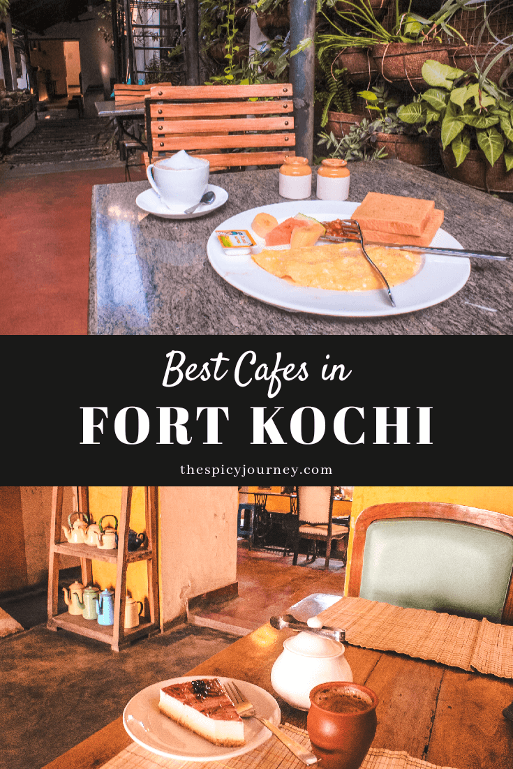 Pinterest graphic for best cafes in Fort Kochi