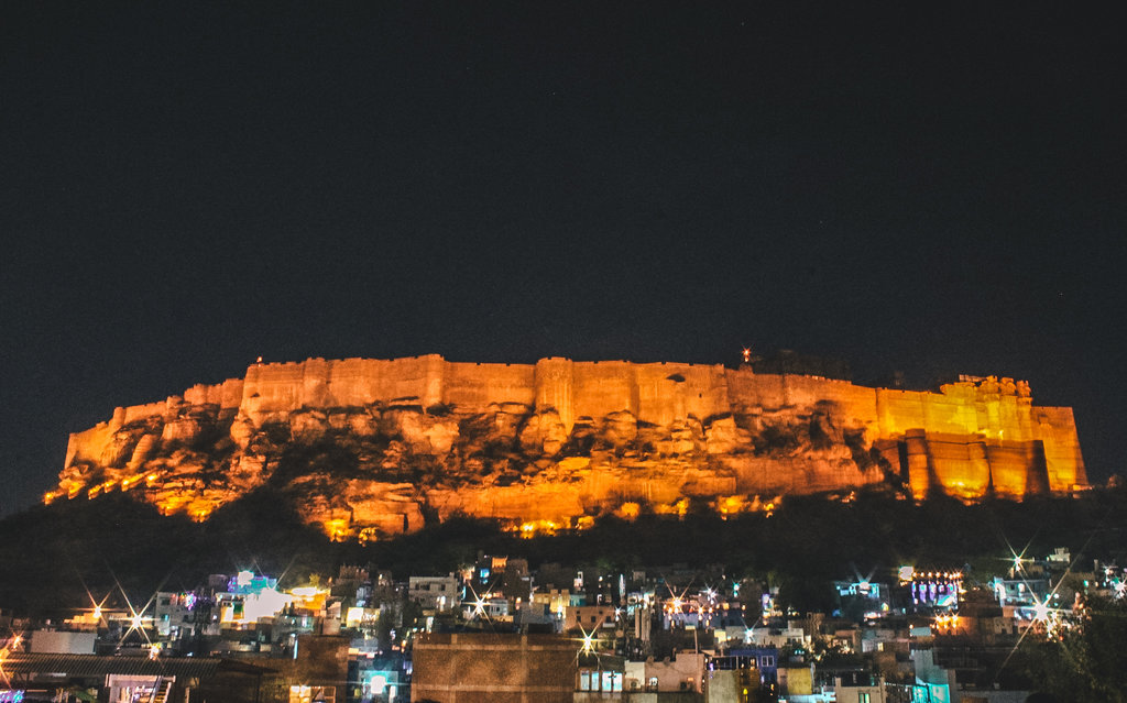 Night view of Mehrangrah fort from Zostel rooftop, Jodhpur Rajasthan