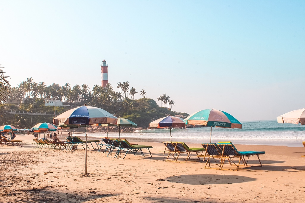 Lounge chairs at lighthouse beach Kovalam