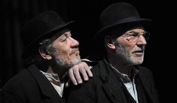 Ian McKellen (Estragon) and Patrick Stewart (Vladimir) in 'Waiting for Godot', photo by Sasha Gusov x600