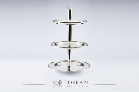 Silver plated 3 level pastry stand with border