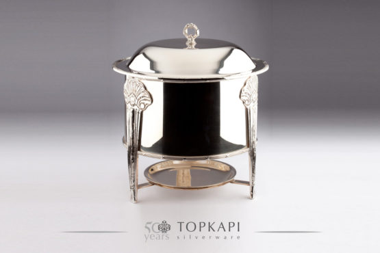Round cylindrical silver plated chafing dish
