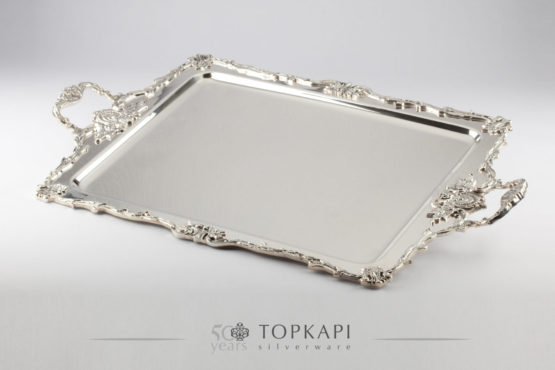 Imperial silver plated serving tray with handles