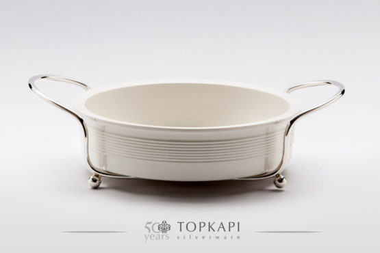 White porcelain plate with silver plated stand