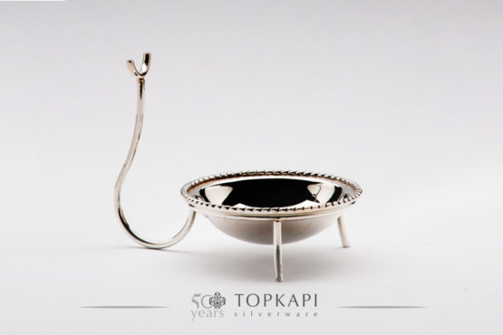 Round silver plated serving spoon holder