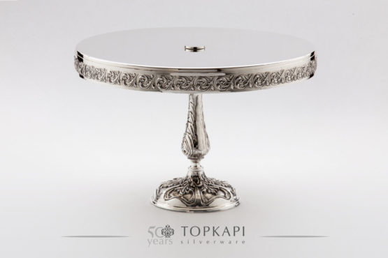 High silver plated cake & pastry stand with pressed border and casted foot