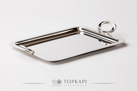 'Ellipse' silver plated tray with handles